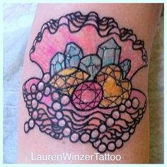 Amazing ditch tattoo by Lauren Winzer. Gems in a shell #mermaid
