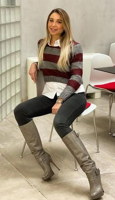 Stiletto Boots, High Heel Boots, Knee Boots, Skirts With Boots, Jeans And Boots, Anja Petzold, Riding Boot Outfits, Beige Boots, Sexy Boots