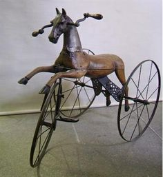 horse tricycle....XIX century's hipsters ride!! LOL!!!!!  http://www.crazyart-milano.com/products/14336-cavallino-triciclo.aspx
