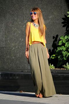 Falda Larga Maxi Skirt Outfits, Boho Outfits, Spring Outfits, Casual Outfits, Fashion Outfits, Boho Fashion, Autumn Fashion, Mode Jeans, Mode Boho