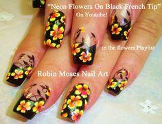 Nail Art Tutorial | DIY Flower Nails | Neon flowers & Black Tip Nail Design
