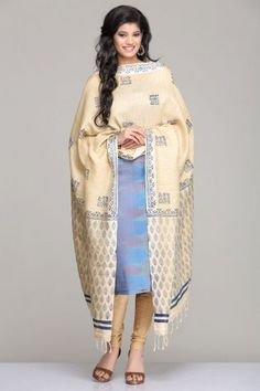 Soothing Blue Shaded Moonga Silk Unstitched Suit With Leaf Motif Hand Block Print On The Beige Khadi Cotton Dupatta