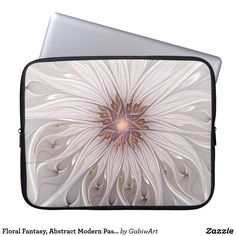 Floral Fantasy, Abstract Modern Pastel Flower Laptop Sleeve