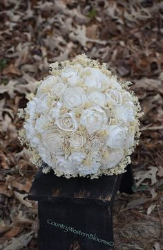 Wedding Bouquet Ivory Bouquet Sola Bouquet by CountryWesternBlooms