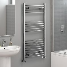 Choose from our stylish range of chrome towel rail radiators, in many sizes and with classic & modern chrome heated towel rail styles. Bathroom Towel Radiators, Bathroom Heater, Bathroom Towel Rails, Bathroom Furniture, Modern Bathroom, Small Bathroom, Bathroom Ideas, Loft Bathroom, Bathroom Makeovers