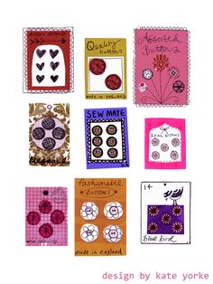 Kate Yorke - vintage button card illustration
