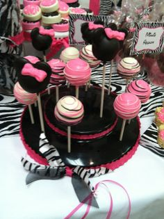 Love these cake pops at a Zebra  Minnie Mouse baby shower!  See more party ideas at CatchMyParty.com!  #partyideas #minniemouse