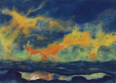 Artwork by Emil Nolde, Herbsthimmel am Meer, Made of watercolor on Japan paper Emil Nolde, Edvard Munch, Azul Anil, Art Moderne, Am Meer, Watercolor Techniques, Vincent Van Gogh, Oeuvre D'art, Landscape Paintings