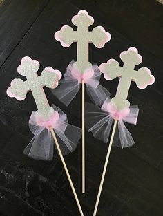 Baptism centerpiece set of 3 Baptism Centerpieces, Baptism Decorations, First Communion Party, Baptism Party, Baby Shower Balloon Decorations, Paper Rosettes, Farm Party, Wedding Party Favors, Christening