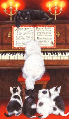 Piano Cats by Avril Haynes Pretty Cats, Beautiful Cats, Cute Cats, Enchanted Book, Cats Musical, Spirited Art, Cat Mouse, Cat Cards, All About Cats