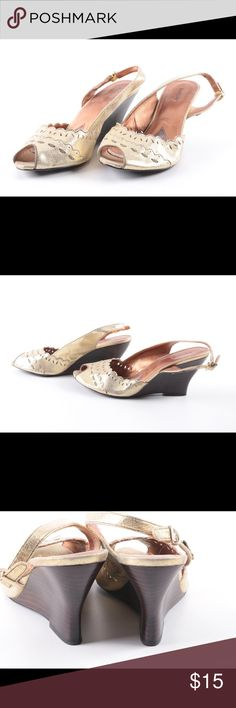 """Kenzie metallic peep toe wedge Gold metallic color, peep toe and open back, ~3"""" heel. Never worn, HOWEVER, inside leather has multiple scuffs and cuts due to natural aging, but invisible from the outside and doesn't affect wearing. Outside leather is totally fine. kenzie Shoes Wedges"""