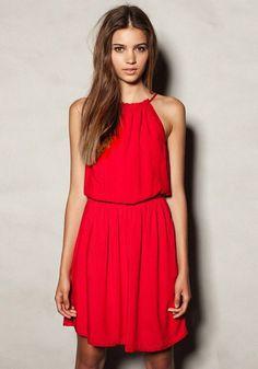 Red Plain Round Neck Long Sleeve Dacron Dress