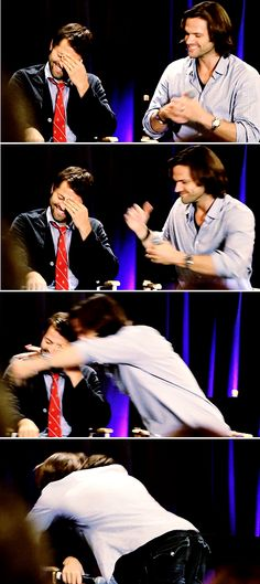 Jared hugs misha after Misha confesses he got beat up sometimes when he was a kid. Well Misha, you turned out all right :)