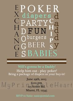 Baby Shower Invitation Dadchelor Poker and by MyPrintableHeart