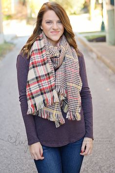 Over sized plaid oblong scarf.