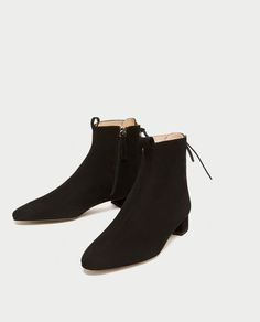 ZARA - WOMAN - LACE-UP SUEDE ANKLE BOOTS