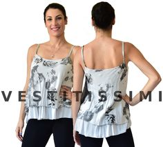 Maglia donna senza maniche con fantasia floreale  Canotta donna velata con stampa a fiori. Le canotte sono in viscosa e presentano un velo interno Maglietta donna imperdibile per un look sexy fashion!  Taglia unica S/M