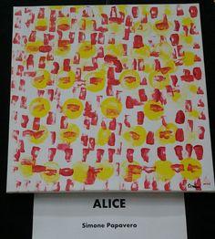 """Alice - Simone. Tempera su tela. Opera realizzata dai partecipanti al Laboratorio """"Anima CReativa"""" dell'associazione Codice Segreto ONLUS, attività artistiche dedicate a persone con abilità diverse."""