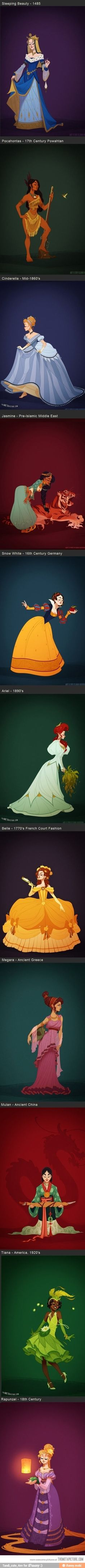 Disney Princesses in their appropriate time period and clothes!