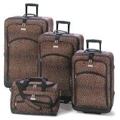Leopard Print Luggage Ensemble Set of 4. PRICE $249.95.  #bags #luggage