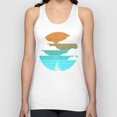 Go West (sail away in my boat) Unisex Tank Top by Budi Satria Kwan - $22.00