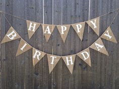 Happy Birthday Burlap Banner/Bunting.    Each pennant is sealed with a clear coat to help prevent fraying.    Happy Birthday can be painted in