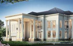 Rumah Klasik - Showcase Model Luxury Homes - Rumah Klasik Classic House Design, House Front Design, Modern House Design, Old Style House, House Plans Mansion, Model House Plan, Front Elevation Designs, Home Building Design, Classic Building