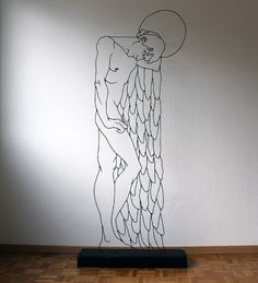 Beautiful steel rod sculptures of angels by Gavin Worth