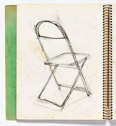 Diebenkorn, graphite, Page 060 from Sketchbook # 08 [chair]
