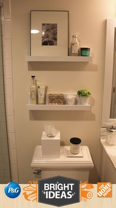 """Michelle from <a href=""""http://www.4men1lady.com/"""" target=""""_blank"""">4 Men 1 Lady</a> proves that style does not have to be lost when it comes to organizing your bathroom space. In addition to the shelving project, Michelle also shows how you can transform your old vanity with recycled marble."""