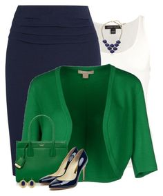 """""""Navy & Green for Work"""" by houston555-396 ❤ liked on Polyvore"""