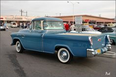 1956 Chevrolet 3100 Cameo Fleetside pickup - blue - rvl =Pat D