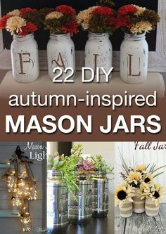 Mason Jar Ideas for Fall! If you love mason jars, you need to see these projects! These would make amazing centerpieces for the holidays.or even as gifts! Pot Mason Diy, Fall Mason Jars, Mason Jar Vases, Mason Jar Projects, Mason Jar Crafts, Mason Jars Decorados, Thanksgiving Crafts, Holiday Crafts, Thanksgiving Centerpieces