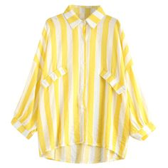 Oversized Button Up Striped Blouse (110 GTQ) ❤ liked on Polyvore featuring tops, blouses, button up blouse, button up top, striped blouse, stripe top and yellow top