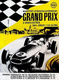 1964 Hungarian Grand Prix Race - Promotional Advertising Poster