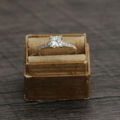 Leigh Jay Nacht specializes in vintage engagement rings and wedding bands Princess Cut Engagement Rings, Deco Engagement Ring, Vintage Engagement Rings, Wedding Ring Bands, Diamond Engagement Rings, Gold Solitaire Ring, Art Deco Ring, White Gold Rings, Eclectic Wedding