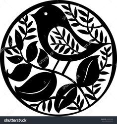 Vector illustration of hand drawn paper cut silhouette with bird.