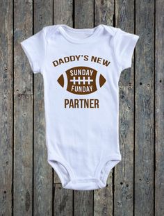 Daddy's New Sunday Funday Partner Onesie®/ Football Onesie®/ Sunday Funday Onesie®/ Baby Boy Onesie®/ Baby boy bodysuit/ Super Bowl Sunday by RustikBoutique on Etsy