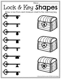 Pirate Chest Lock & Key Shapes Matching. - Preschool Pirate Worksheets