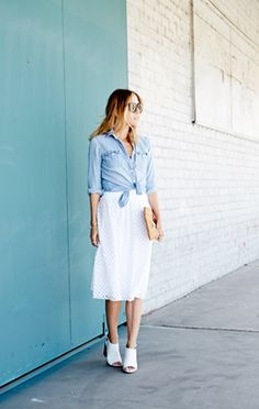 4 Fourth of July Outfits We Love | Modern Romantic: Ella Moss Tessa Eyelet Skirt, $168, American Eagle Chambray Boyfriend Shirt, $39.95, Clare V. Supreme Fold Over Clutch, $210