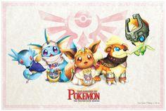 Pokemon and Zelda Crossover Fan Art Les Pokemon, Pokemon Sets, Pokemon Party, Pokemon Fan Art, Pokemon Stuff, Pokemon Fusion, Digimon, Geeks, Photo Pokémon