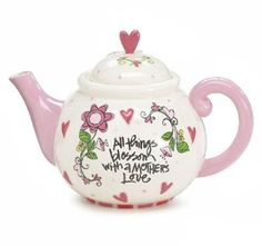 """Whimsical Flowers Ceramic Teapot with """"All Things Blossom With Mother's Love"""" Great Gift for Mom by Burton & Burton, http://www.amazon.com/dp/B00749ON4O/ref=cm_sw_r_pi_dp_vXyjrb14HC72R"""