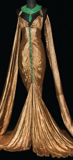 Gold lamé gown designed by Travis Banton for Claudette Colbert in Cecil B. DeMille's Cleopatra (Paramount, 1934)