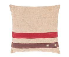 Cojín de tela de saco - natural, rojo y vino