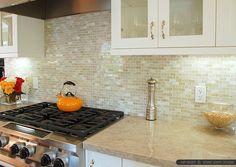 Mini brick white onyx kitchen backsplash tile from Backsplash.com