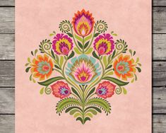 Wycinanki Flower Papercut style Polish Folk Art Print Floral Botanical Gift Choice of 7 Harvest Colors 5 x 7 8 x 10 or 11 x 14 – floral tattoo sleeve Tigh Tattoo, Pop Art, Polish Folk Art, Traditional Tattoo, Traditional Design, Flower Tattoos, Paper Cutting, Paper Flowers, How To Draw Hands