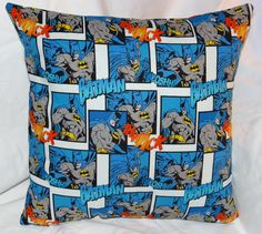 """Batman pillow 14"""" with a zipper on the bottom for easy washing."""