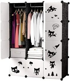Monkibag-hm Portable Wardrobe Closet Lovely Wardrobe Portable Simple Black Cat Designed Clothes Closet DIY Modular Cupboard Storage Organiser for Clothes Quilt (Color : White, Size : 111x47x147cm) Portable Wardrobe Closet, Wardrobe Storage, Closet Storage, Cupboard Design, Cupboard Storage, Storage Cabinets, Dresser In Living Room, Canvas Wardrobe, Closet Colors