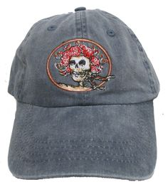 - Grateful Deads perennial favorite Skull and Roses design embroidered on a 100% cotton twill baseball cap. Adjustable strap with brass buckle. One size fits most.This embroidery has a very high stitc