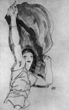 'girl with flag' by egon schiele